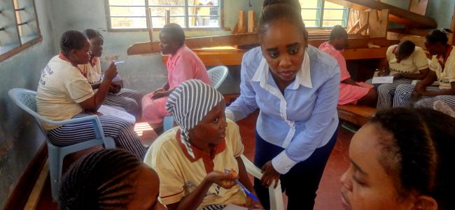 Kituo cha Sheria Staff is engaging Prison paralegals at a legal aid clinic at Shimo La Tewa Women Prison in Mombasa